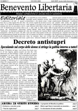 Prima pagina Benevento Libertaria 7